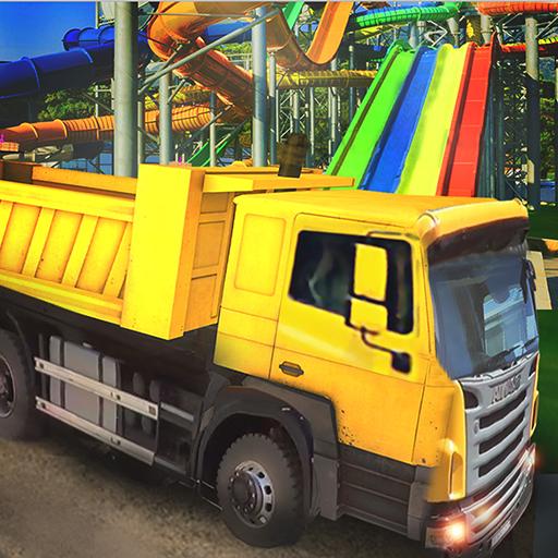 Water slide construction simulator: crane operator
