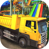Water slide construction simulator: crane operator