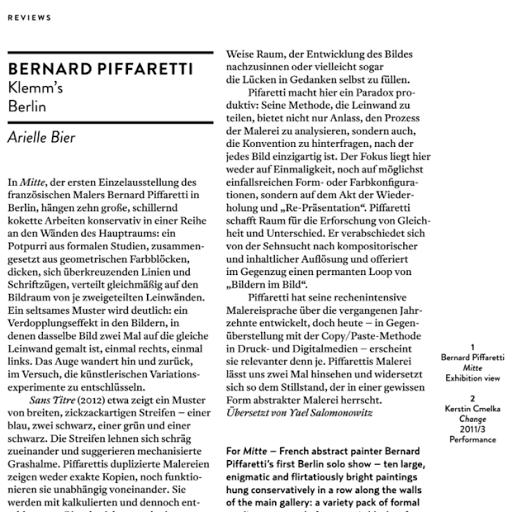 Bernard Piffaretti, Frieze, 2013
