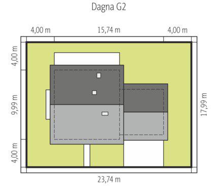 Dagna - Sytuacja - wersja domu z garażem dwustanowiskowym