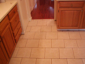 Photo: 12x12 ceramic tile brick pattern installation