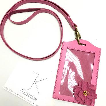 桃紅色皮革櫻花證件套