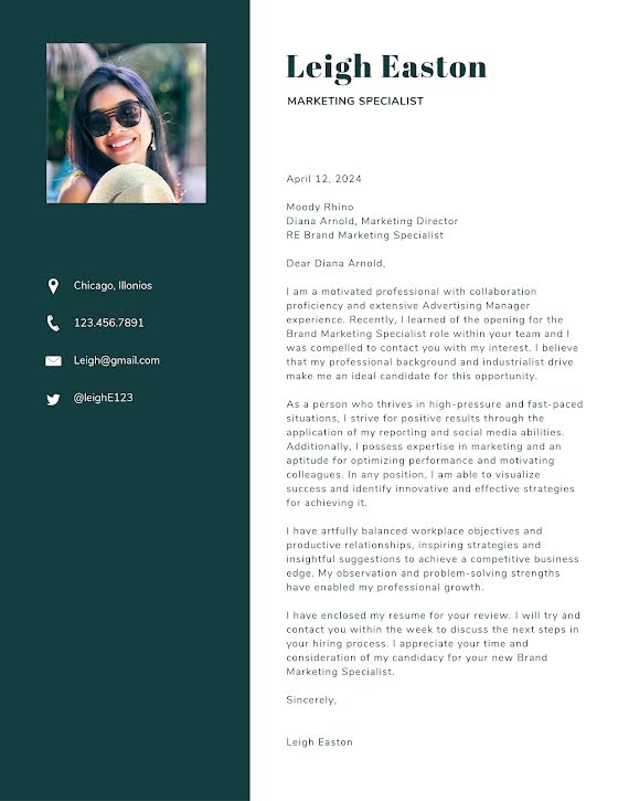 Leigh Easton - Cover Letter Template