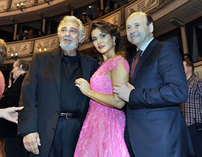 Photo: WIENER OPERNBALL 2016 - Generalprobe. Placido Domingo, Olga Peretyatko, Dominique Meyer. Copyright: Barbara Zeininger
