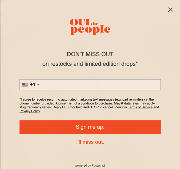 Oui the people's exit-intent form.