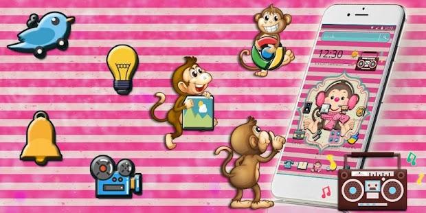 Cute Pink Monkey Theme - náhled