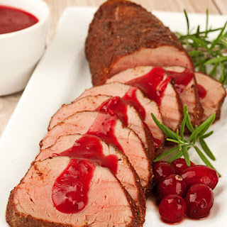 Spiced Pork Tenderloin with Cranberry-Cider Sauce.