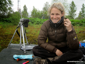Photo: Liz poses with our 31st bird (one more than our target sample size for the Moscow research area)