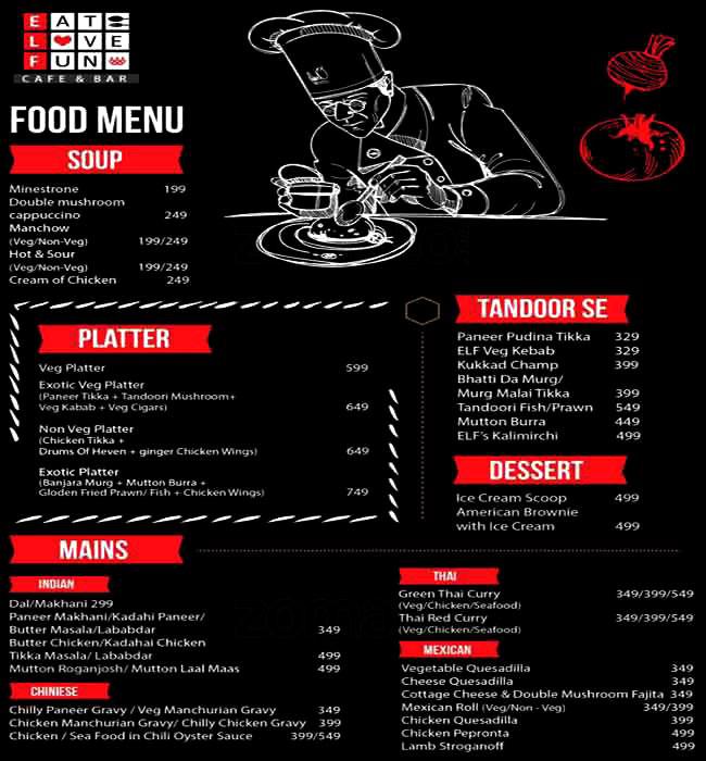 Elf Cafe & Bar menu 1
