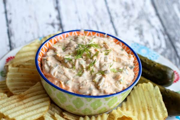 Tangy Cheesy Dill Pickle Dip In A Serving Bowl.