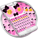 Ribbon Pink Black Emoji Keyboard Theme icon