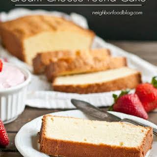 Mom's Cream Cheese Pound Cake with Whipped Strawberry Cream Cheese.