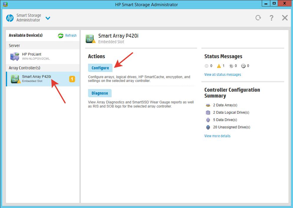 HP Smart Storage Administrator