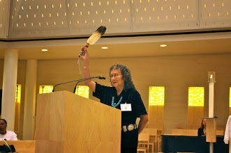 Photo: Marie Redhouse, ASBS from the Navajo Reservation in Arizona, offered the Blessing of the Four Directions