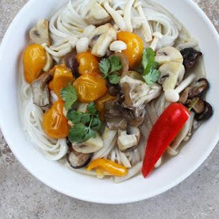 Sauteed Spring Mushrooms, Chiles + Cilantro in Caramelized Coconut Broth