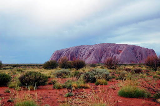 Uluru-Ayers-Rock - A colorized view of Uluru, or Ayers Rock, under the rain in Australia's  Northern Territory.