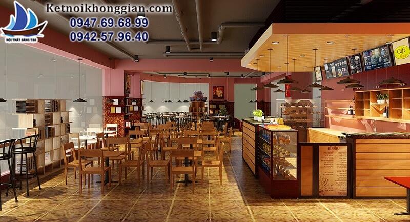 thiết kế quán cafe sách thoáng cho góc view đẹp
