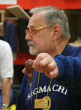 Photo: Michael Blake made one of his favorite things -- a tool handle.  This awl with its sapele handle...
