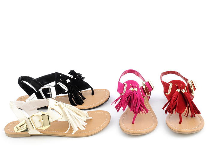 Photo: Fringe detailing is the perfect accent for any flat sandal.