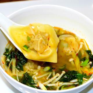 Spicy Veggie Soup with Handmade Wontons