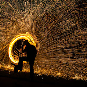 by Sarah King - People Portraits of Men ( , Steel Wool, Fire, Sparks )
