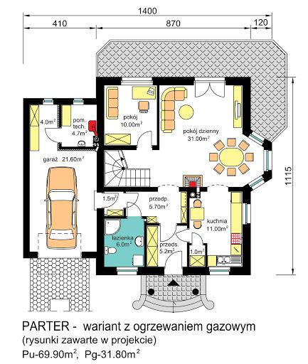 BW-23 wariant garaż jednostanowiskowy - Rzut parteru - propozycja adaptacji - ogrzewanie gazowe