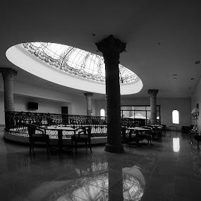 Hotel by Cristobal Garciaferro Rubio - Buildings & Architecture Other Interior ( relfection, hall glass, presidente hall, hotel, black and white, interior, building, monotone )
