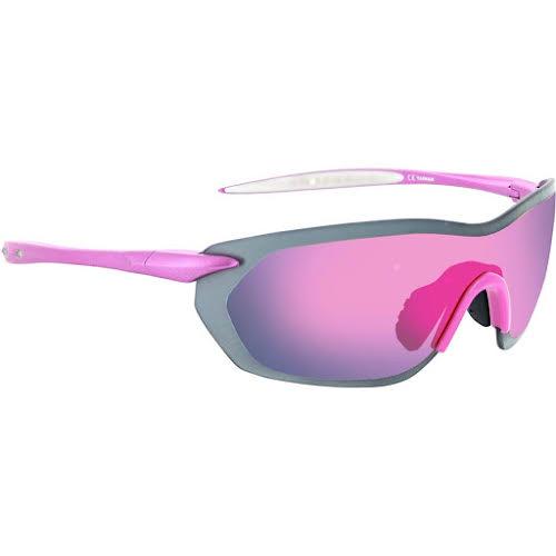 Optic Nerve Fixie Dash Sunglasses: Aluminum Pink/White Tips, with Smoke/Pink Flash Lens