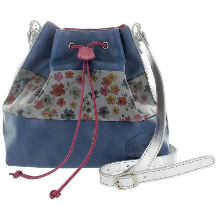 Säckväska blå/blom/blå med silverrem med blommigt foder