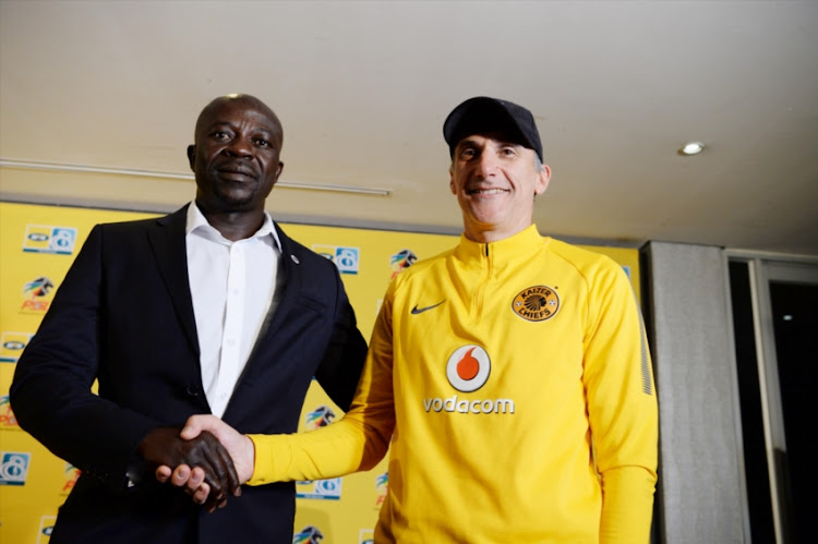 SuperSport United coach Kaitano Tembo and Kaizer Chiefs coach Giovanni Solinas during the SuperSport United Press Conference at PSL Offices on August 23, 2018 in Johannesburg, South Africa.