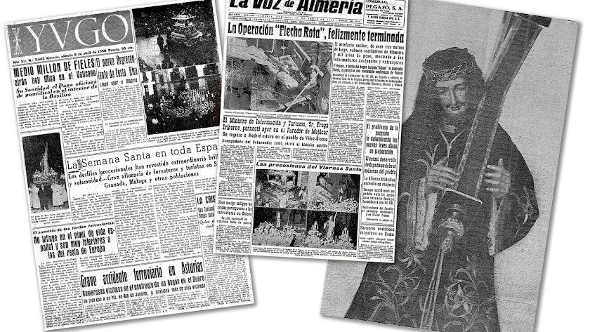 Páginas extraídas de la hemeroteca de LA VOZ que hacen referencia al Santo Entierro e imagen procesional de Nuestro Padre Jesús Nazareno en 1929, que
