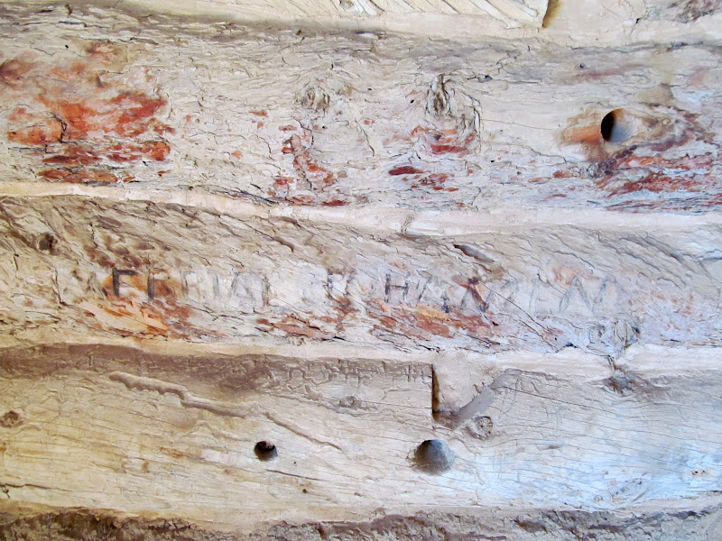 Photo: Merrial Johansen carved inside Swasey's Cabin