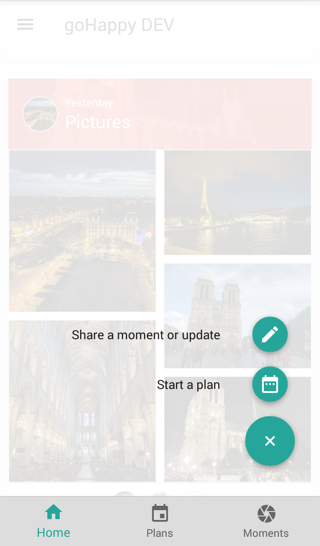 goHappy: Group plans, photo sharing & messaging- screenshot