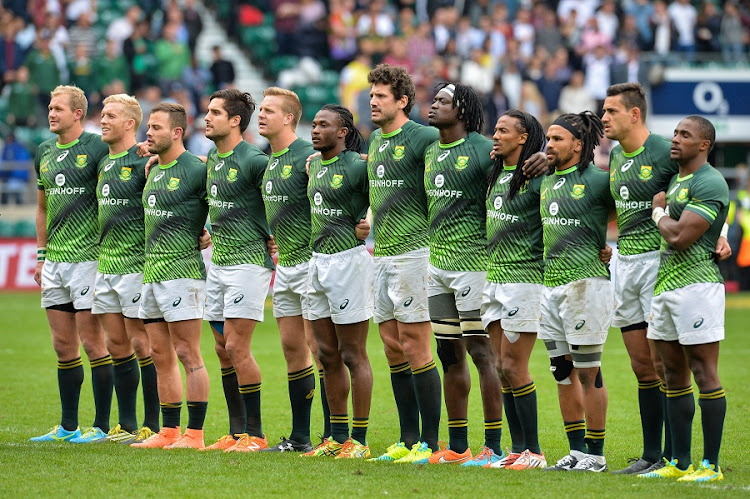 The Blitzboks before their Cup final against Scotland. Picture: GETTY IMAGES/ROGER SEDRES