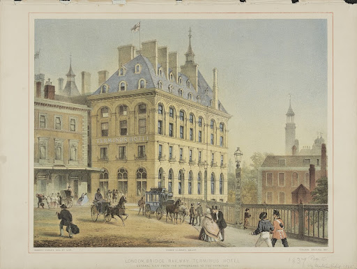 "Lithograph (col.) ""London Bridge Railway Terminus."