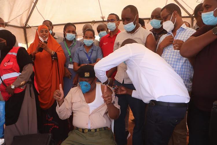 Deputy County Commissioner, Wajir East Omar Boga receives his Astrazeneca vaccines