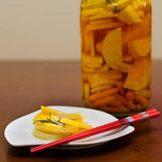 Quick Garlicky Pickles.