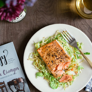 Honey Mustard Salmon with Shaved Brussel Sprout Salad