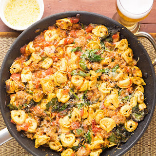 Baked Tortellini With Tomato, Spinach & Sausage.