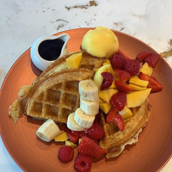 Gluten Free Waffles with a mango sorber.