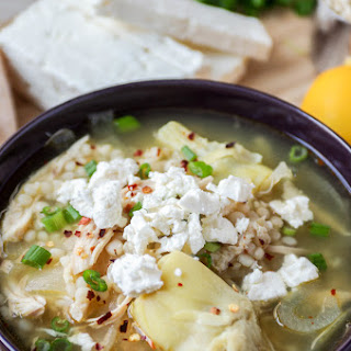 Greek Lemon Chicken Soup with Artichoke Hearts and Couscous