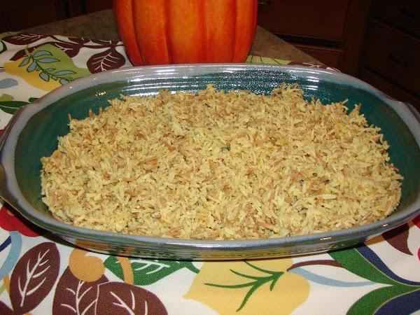 Layer prepared rice in a 9' x 13' baking dish