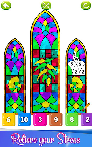 Stained Glass Color By Number Adult Coloring Book Mod Apk