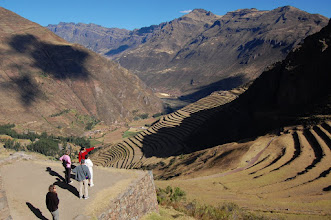 """Photo: According to Wikipedia: """"With military, religious, and agricultural structures, the site served at least a triple purpose. Besides a country estate, it is thought that Písac defended the southern entrance to the Sacred Valley, while Choquequirao defended the western entrance and the fortress at Ollantaytambo the northern."""" http://en.wikipedia.org/wiki/P%C3%ADsac"""