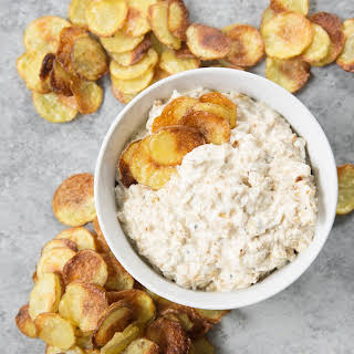 Caramelized Onion Dip With Baked Potato Chips.