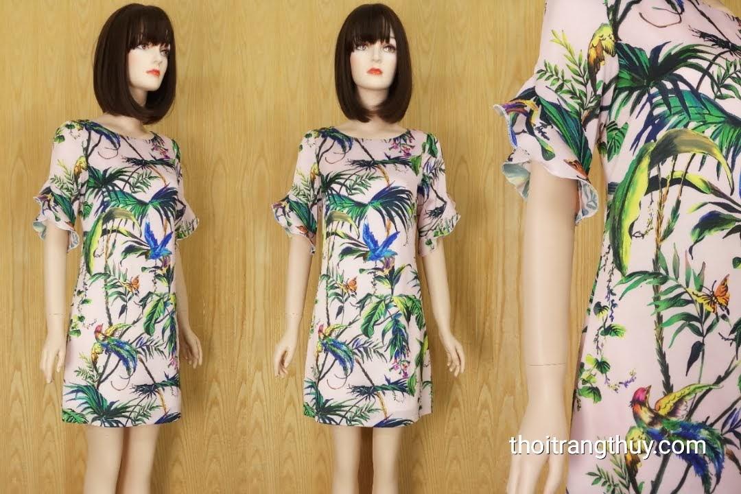 Váy suông tay loe họa tiết nhiệt đới mùa hè V602 Thời Trang Thủy