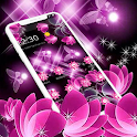 Neon Pink Black Butterfly Flower Theme icon
