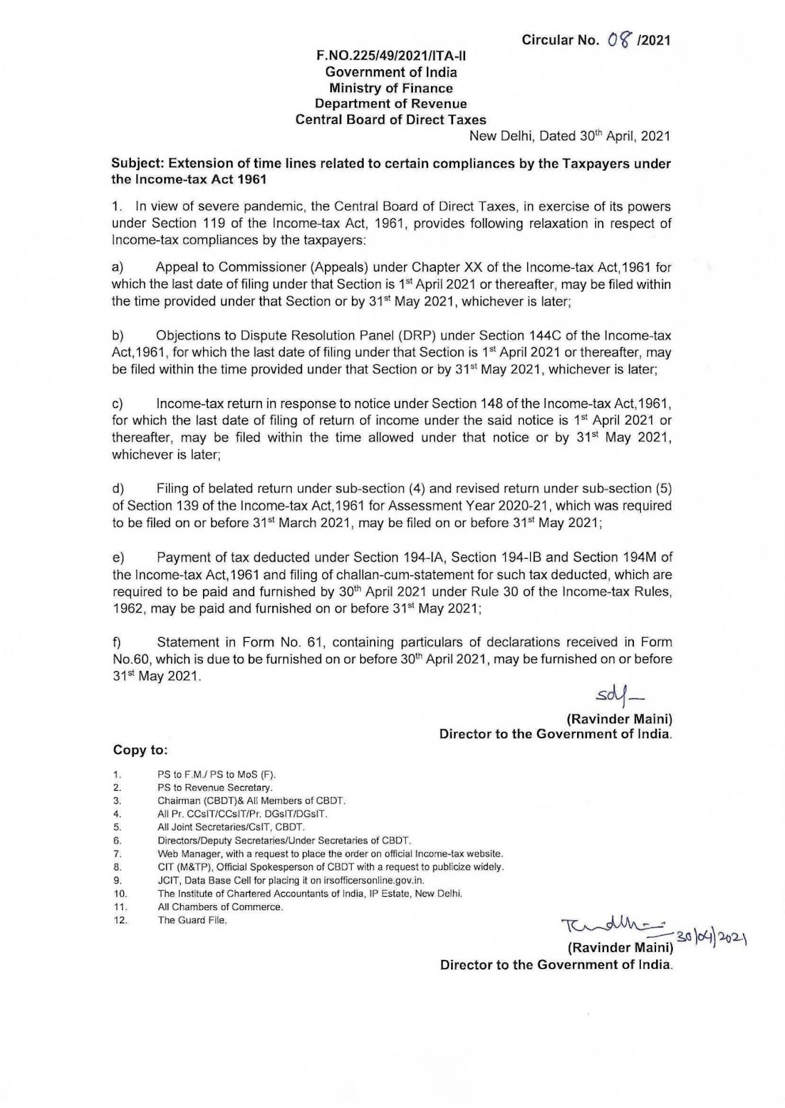 NRI Tax Filing Deadline for FY 19-20 Updated to 31st May 2021