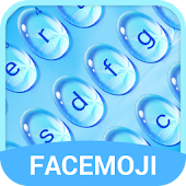Blue Water Drop & Rainy Mood Emoji Keyboard Theme