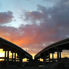 Over the River by Kevin Whetsell - Buildings & Architecture Bridges & Suspended Structures ( sky, sunset, bridges )